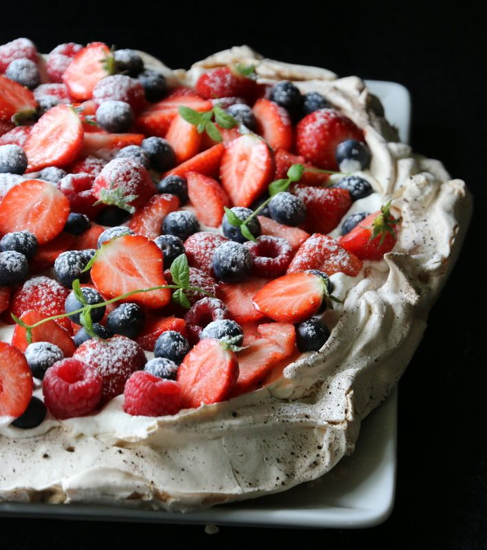 licorice pavlova with vanilla and lemon cream