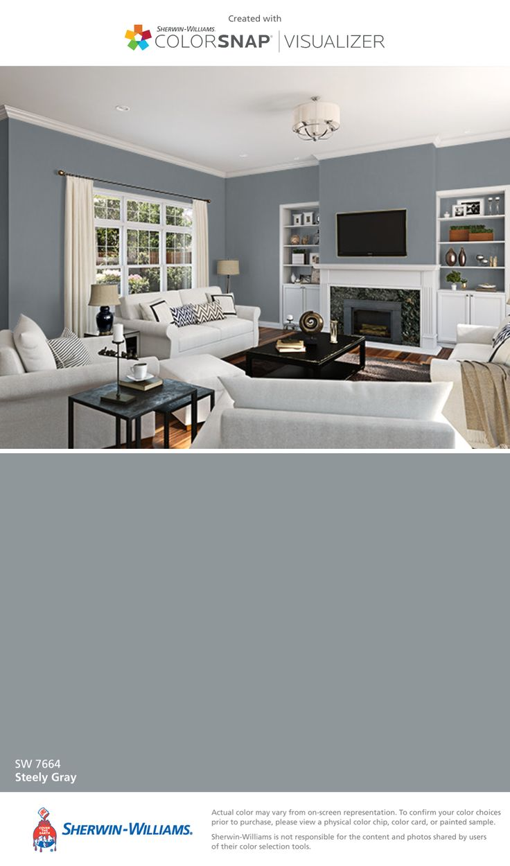 I found this color with ColorSnap® Visualizer for iPhone by Sherwin-Williams: Steely Gray (SW 7664).