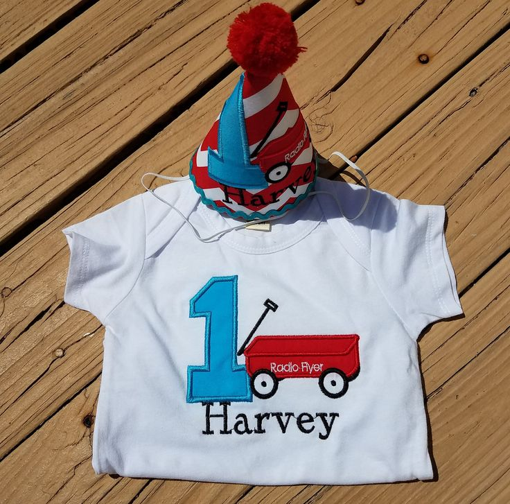 Baby boys first birthday, radio flyer onesie or tshirt, red wagon and matching party hat by TutuCutebyChristyB on Etsy