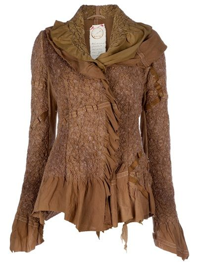 Brown wool jacket from KM/A featuring a layered shawl collar, concealed front fastening, a gathered fabric detailing all over the piece and a contrasting asymmetrical cuff and waist.