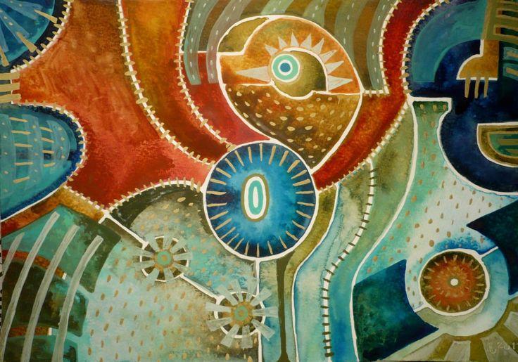 Totemový předek II. Obraz pochází z nové kolekce obrazů vytvořených kombinovanou technikou, kterou jsme si upravila sobě na míru. Od kresby oblíbenými akvarelovými pastely jsem došla ke klasickému akvarelu. Akvarelové barvy jsou zkombinovány s akvarelovým pastelem, který po nastrouhání a rozpuštění ve vodě slouží jako běžné akvarelové barvy, pouze je sytější a ve ...