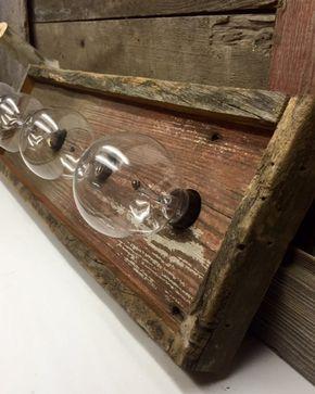 4 bulb barnwood Rustic vanity light by WoodsEdge3 on Etsy