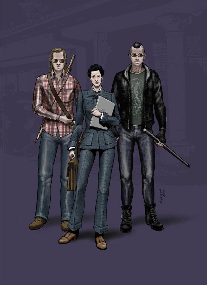 Diseño de personajes, boceto. Sofía, Federico y benjamín. yo.robledoarte.com