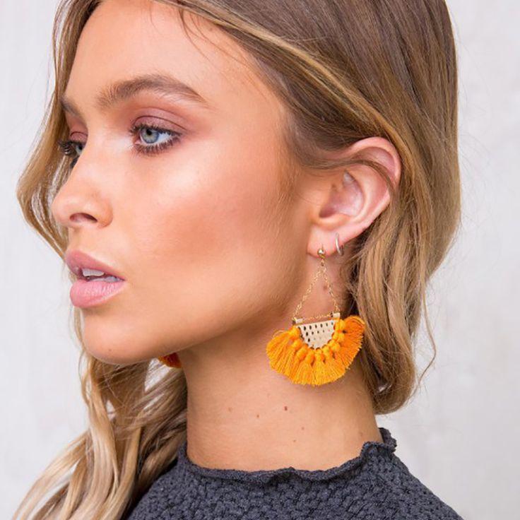Cotton Fringe Earrings