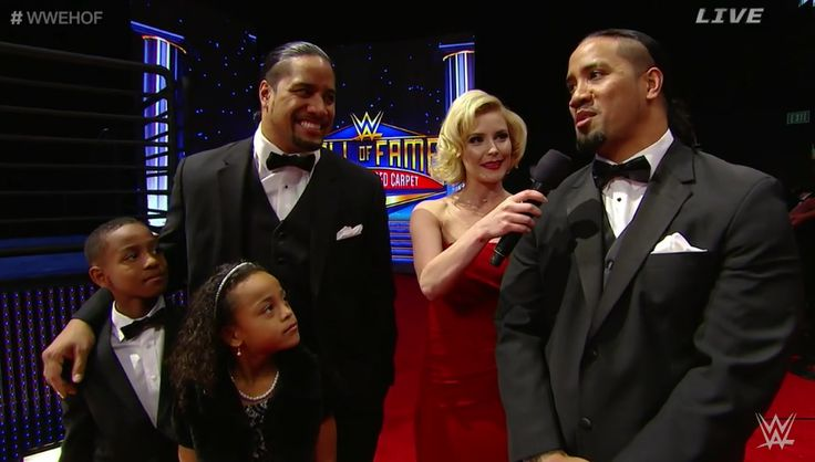 Jonathan and Joshua Fatu (The Usos) on the red carpet at the WWE Hall of Fame Ceremony before they induct their father, Rikishi Phatu (Solofa Fatu) into infamy. They are accompanied by Jonathan's children, Jaden and Jayla.