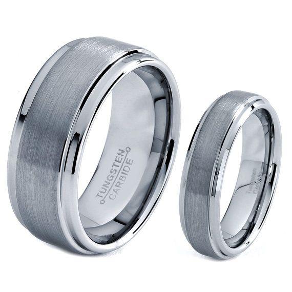 Superb His u Hers Men Women Matching Set Tungsten Carbide Wedding Band Ring mm mm Polished Brushed