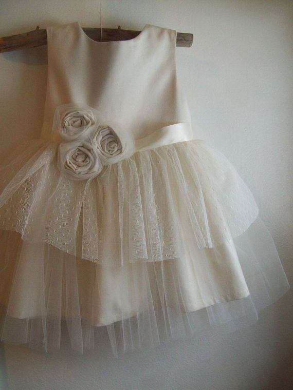 Vintage style Flower Girl Dress, natural Organic cotton flower girl dress, lace…