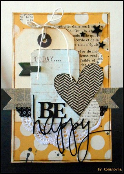 Be Happy tag-based card ~ by Marlies