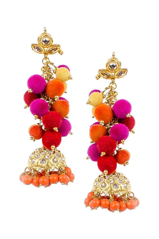 Multicolored Pompom Earrings with Jhumka Drop