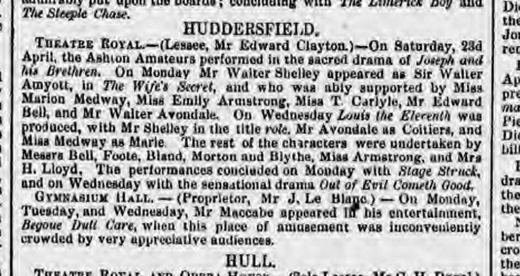 Mrs H. Lloyd The Era 01st May 1870 Huddersfield