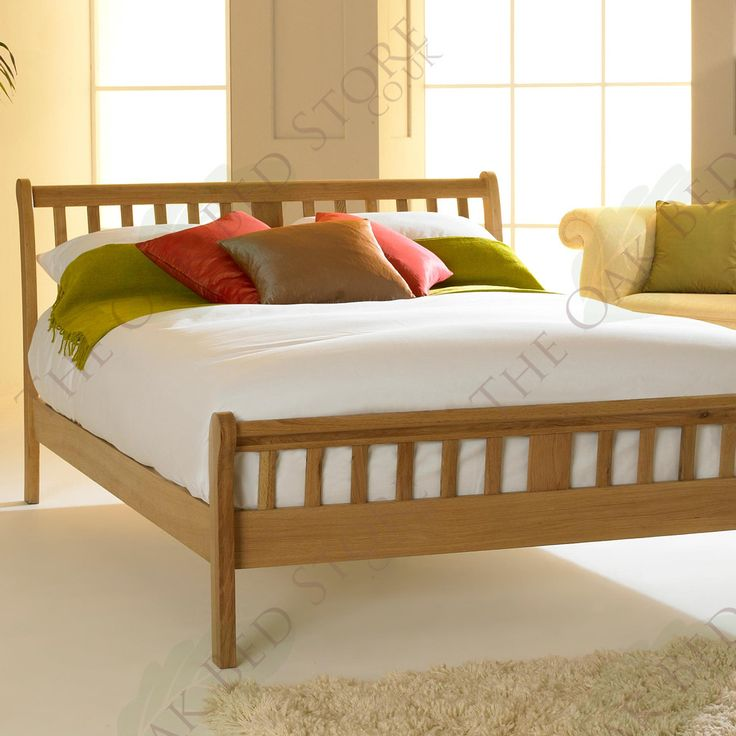 virginia light solid oak bed frame 4ft6 double - Oak Bed Frame