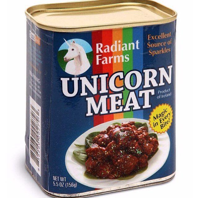 Canned Unicorn meat on sale on http://ift.tt/1iMZKlj  Tastes like chicken :)