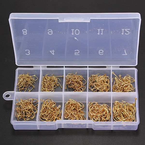 500pcs 10 Sizes Fresh Water Sea Fly Fishing Tackle