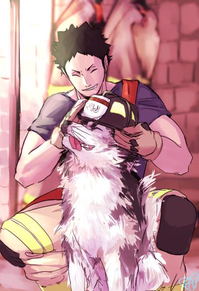 Iwaizumi as a fireman with a dog?! Yes please
