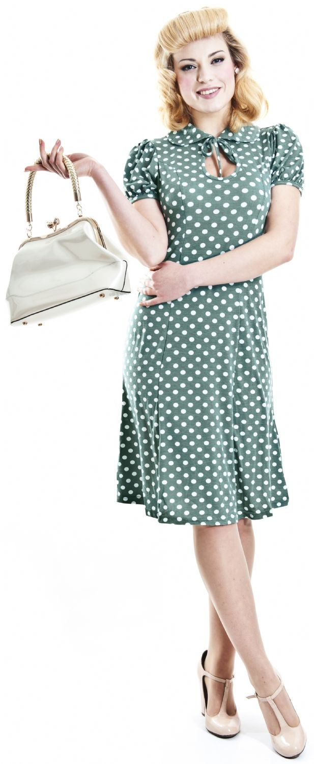 Donna Dress Polka Dot Polka Fitted Dresses In Psychobilly And Vintage Dress Rockabilly | Punk | Pin-up | Psychobilly | Retro Clothing at Collectif