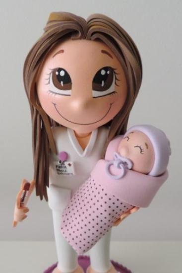 Fofuchas personalizadas, enfermera comadrona