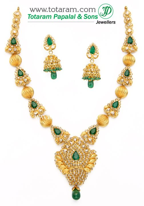 Totaram Jewelers: Buy 22 karat Gold jewelry & Diamond jewellery from India: 22K Gold Necklace & Ear Hangings Set with Uncut Diamonds,Emerald & Emerald Beads