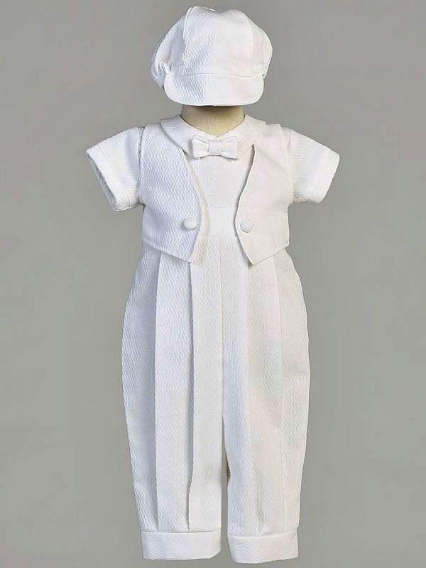 Boys White Christening Baptism 2pc Outfit Poly COTTON Pique Mock Vest Size 0-18M #SweaPeaLilliLito #RompersJumpsuits