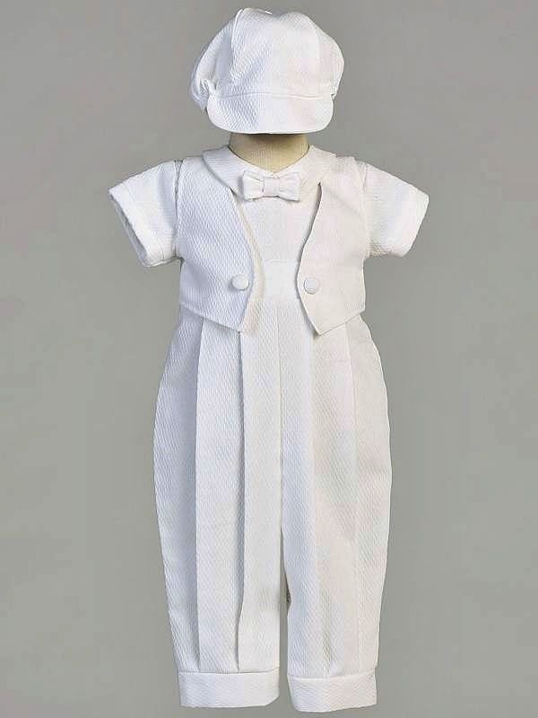 Boys White Christening Baptism 2pc Outfit Poly COTTON Pique Mock Vest Size 0-18M #SweaPeaLilliLito #RompersJumpsuits