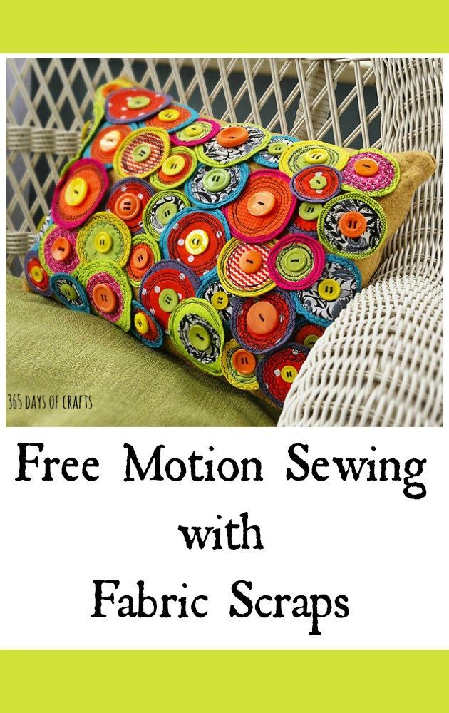 Make a free motion pinwheel pillow. Gather up your fabric scraps and dive into your button stash to create a fun, funky pillow for cheerful porch décor.