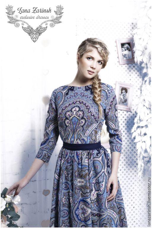 """Купить Платье """" Снегурочка"""" - голубой, орнамент, платье, аля рус, платье для девушки"""