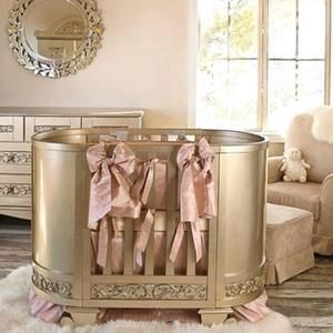 Gorgeous antique silver round crib + bedding + armoire + changing table + everything spectacular for your gorgeous baby nursery by Bratt Decor.