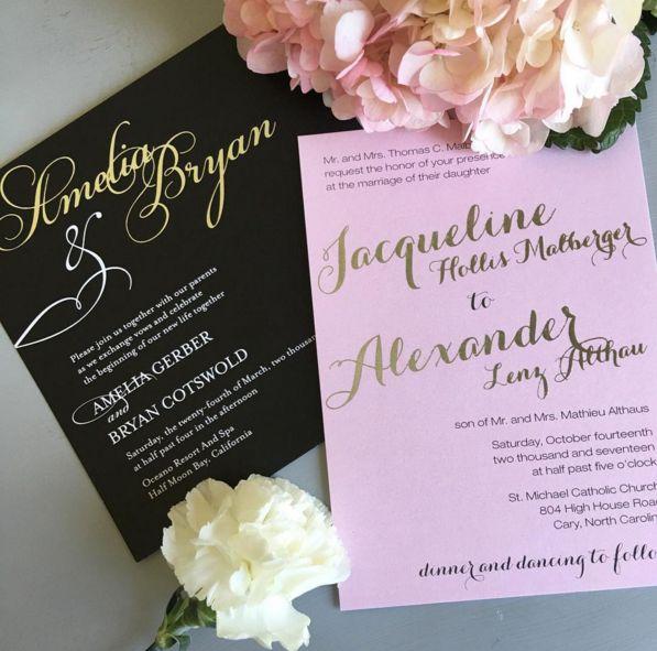 Real Foil Wedding Invitations!  The American Wedding www.theamericanwedding.com