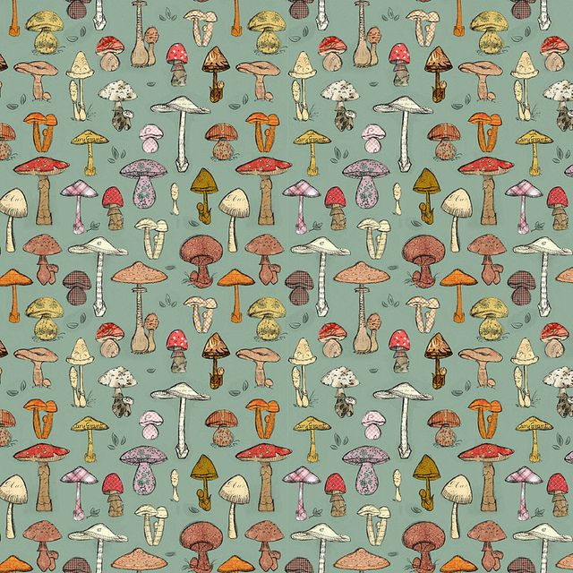 Mushroom Pattern Green by shelley lane