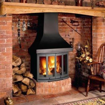 Dovre 2400 CB Woodburning Stove.  This model can either be built in to a fireplace or combined with an optional canopy to create a stunning centrepiece for large fireplace openings and inglenooks