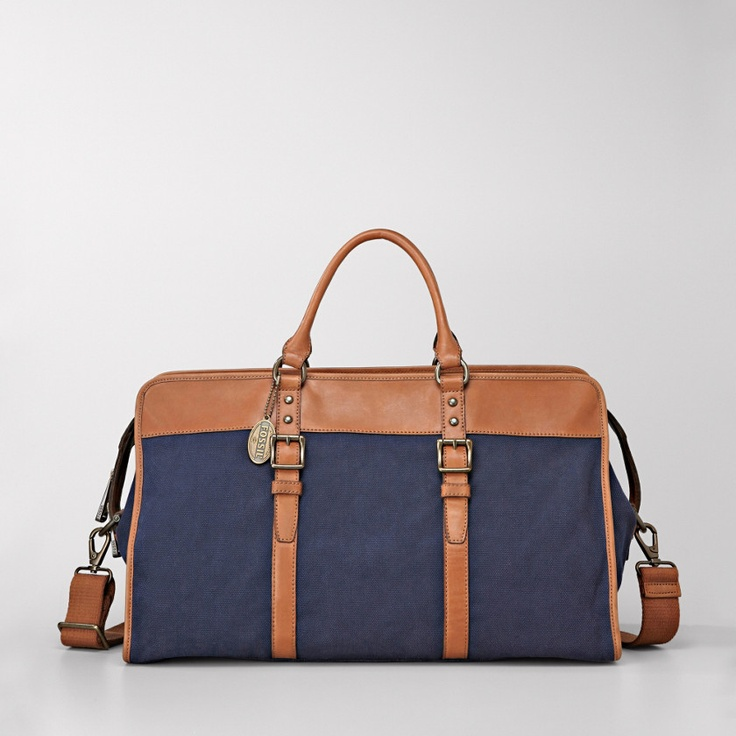 Navy and tan holdallSchools Bags, Weekend Bags, Business Fashion, Travel Bags, Diapers Bags, Men Bags, Beautiful Bags, Fossils Estate, Beautiful Weekend