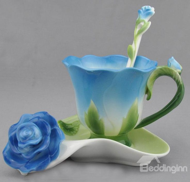 New Arrival Porcelain Rose Shape Four Color Choose Coffee Cup Sets