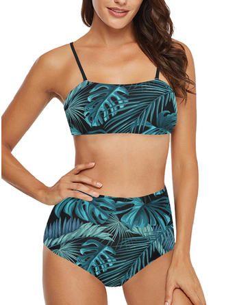 VERYVOGA Blue Bikinis Frische attraktive Polyester Spandex Straps Blätter Bademantel   – Badeanzüge