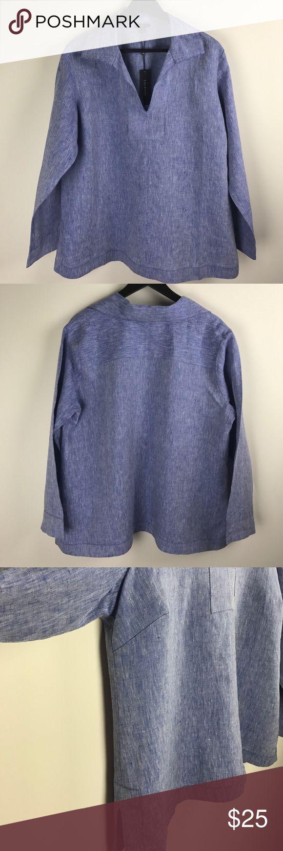 TALBOTS Women's Blue Linen Shirt Beautiful 100% linen top Talbots Tops Blouses