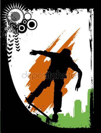 다운로드 - 스케이트 보드 실루엣 — 스톡 일러스트 #10660771
