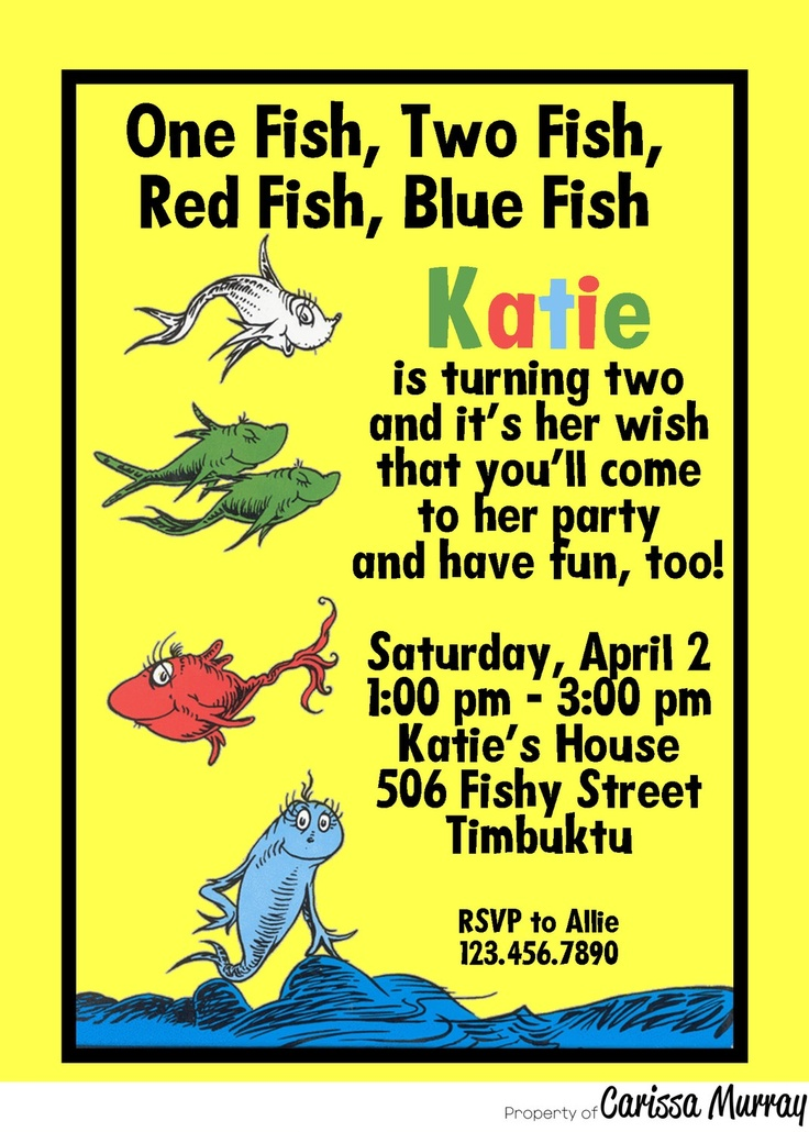43 best one fish two fish party images on pinterest red fish custom printable dr seuss one fish two fish birthday party invitation filmwisefo