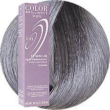Ion Color Brilliance Brights Semi-Permanent Hair Color Titanium-this is great to use over pre-bleached hair to achieve fashionable gray results or to use in transition from previously colored hair to natural gray/grey hair.