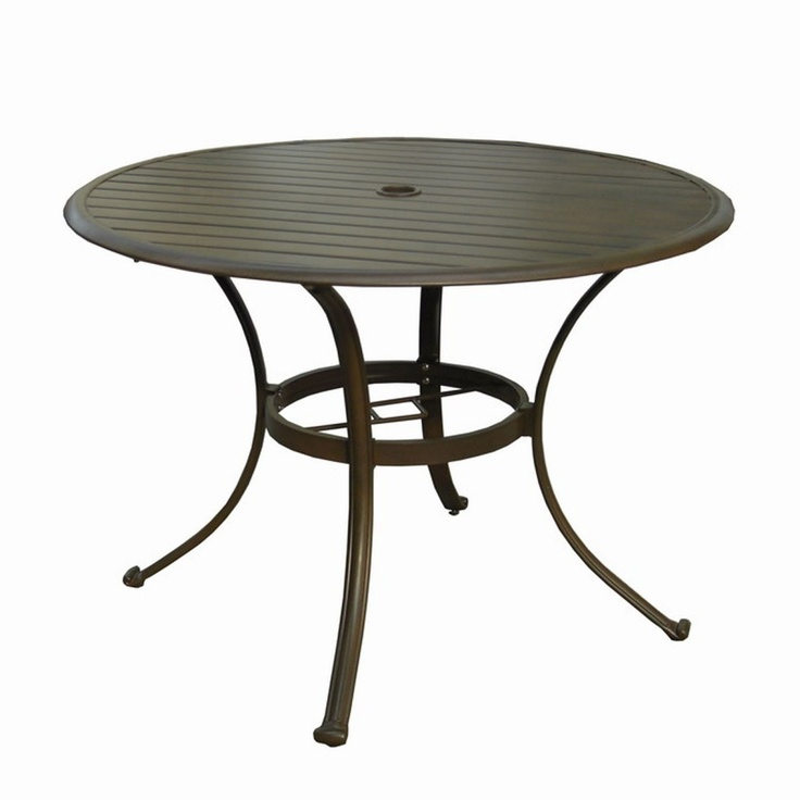Panama Jack Island Breeze Slatted Aluminum 42 In. Round Patio Dining Table  With Umbrella Hole