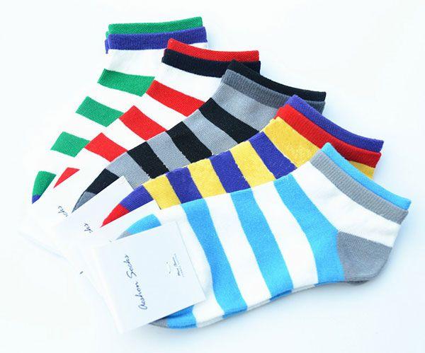 A.E.SHON Men's Stripe Trainer Socks Fashion Soft Cotton Socks