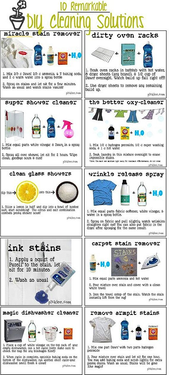 DIY Cleaning Solutions, most involving vinegar, dish soap, and baking soda.