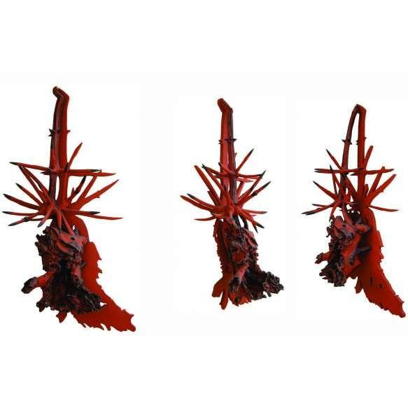 """Frans Krajcberg<br>Raízes – 165 x 80 x 46 cm - Madeira pintada com pigmentos<br>naturais e queimada a fogo - Ass. Verso – Circa 2000<br /> <br /> """"A obra realizada por Frans Krajcberg, ao longo de meio século, baseada no íntimo relacionamento com a natureza, é mais do que um projeto estético. É uma ética. É a invenção de um destino através da reinvenção da natureza. Ao fazer de sua obra uma espécie de memória da natureza, que ele faz irromper no seio da cultura, quer anular uma outra…"""