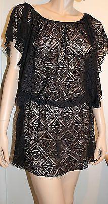 JESSICA SIMPSON Size XL Black Crochet Flutter Sleeve Swimsuit Coverup Dress NEW