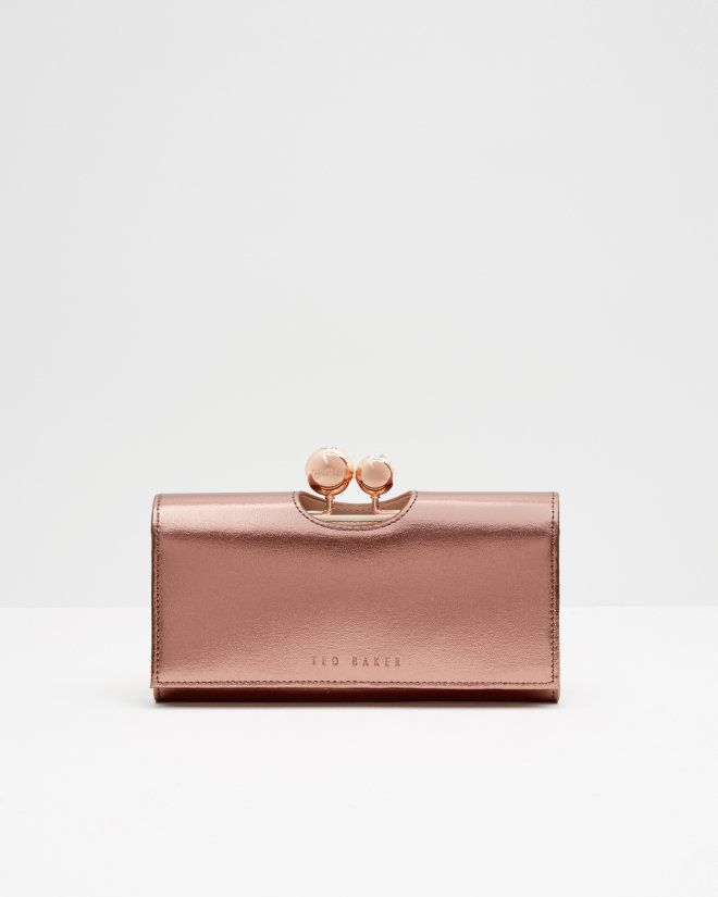 Leather crystal bobble matinee purse - Pink | Purses | Ted Baker UK