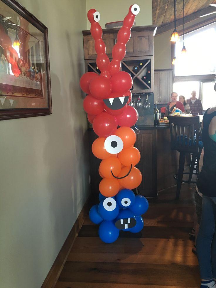 Little monster balloon tower for little monster birthday party