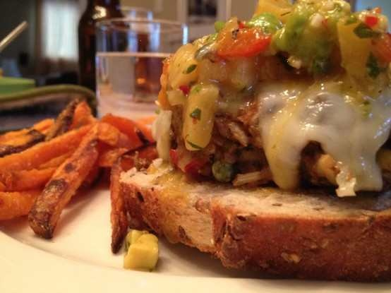 ... avocado salsa, (on grilled bread) with sweet potato fries and roasted