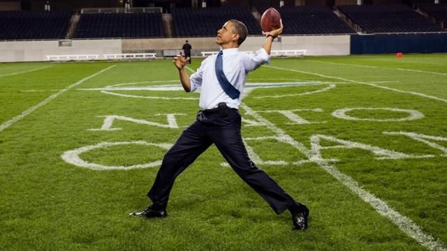President Obama just said he told Cardell Jones he could throw the ball 74 yards like him