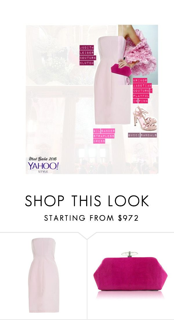 """""""Pretty in Pink @ Met Gala 2015 w/ Yahoo Style"""" by mara-petcana ❤ liked on Polyvore featuring GALA, Jil Sander, Judith Leiber, Gucci, contestentry and yahoostyle"""