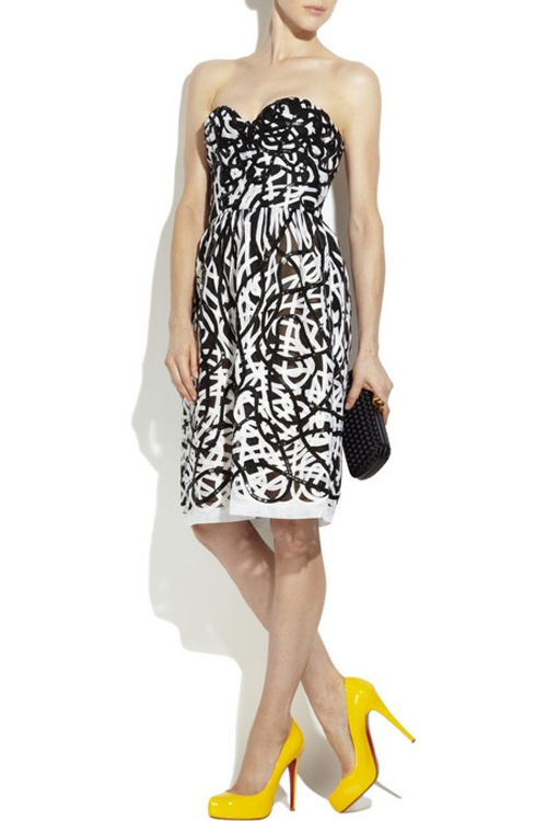 Yellow Loubs, Geometric Black and White Dress