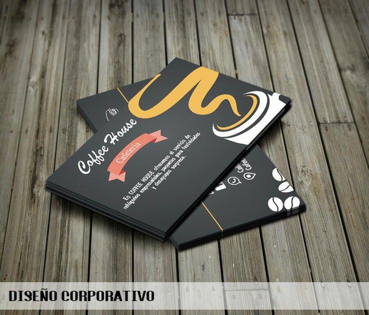 Diseño de tarjeta de la cafetería COFFEE HOUSE.