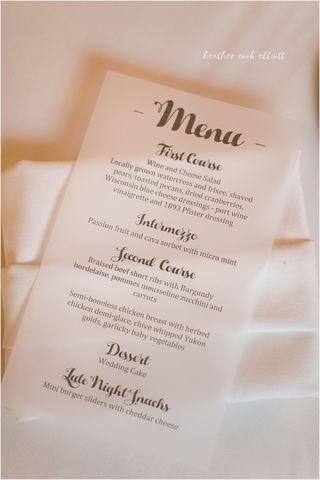 Delectable menus! Downtown Milwaukee Weddings.