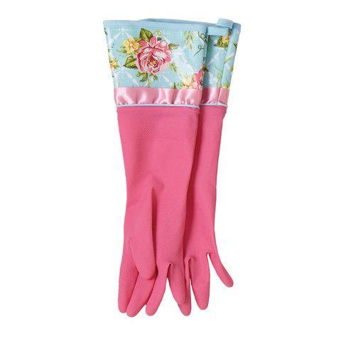 Cottage Kitchen Rose Rubber Gloves